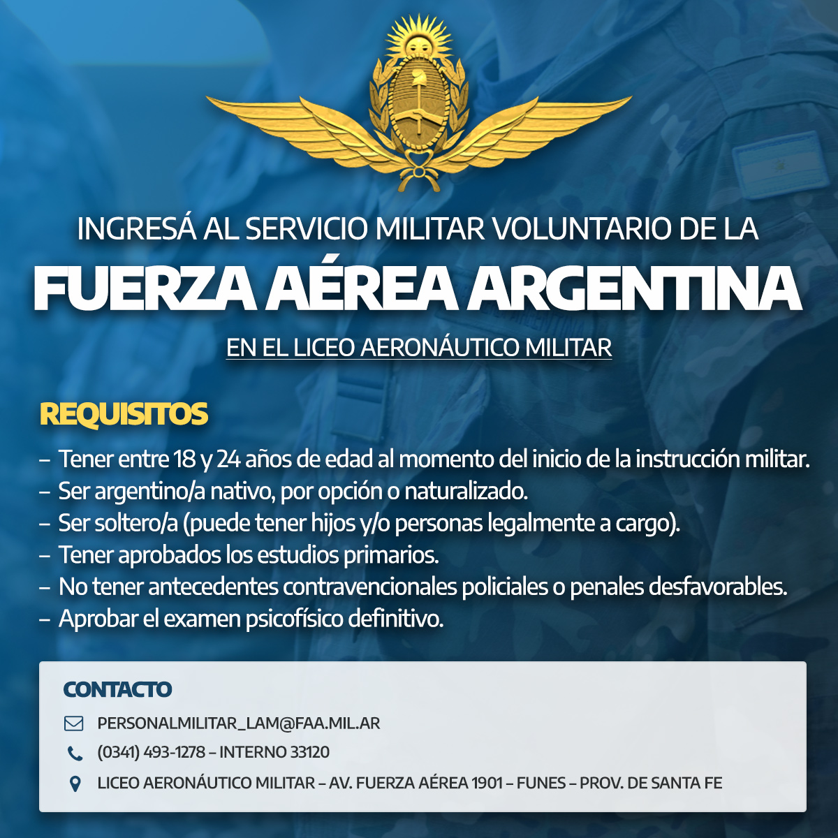 Ingresá al Servicio Militar Voluntario de la Fuerza Aérea Argentina